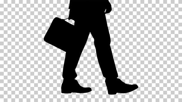 Thumbnail for Silhouette businessman with a briefcase, Alpha Channel.
