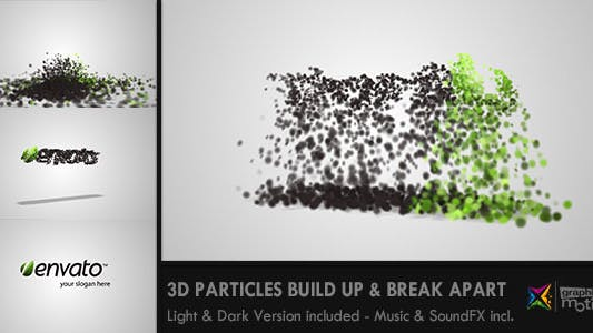 Thumbnail for 3D Particles Logo Build Up & Break Apart Intro