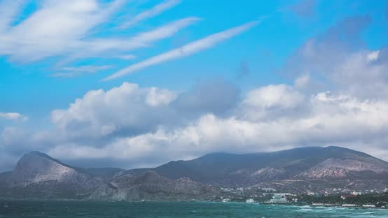 Thumbnail for Mountain Landscape in the Resort with Clouds Over the City in Crimea