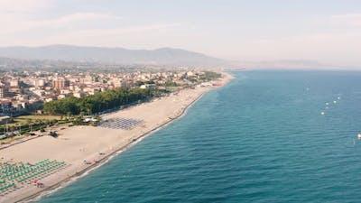 Aerial view of italian sand coastline