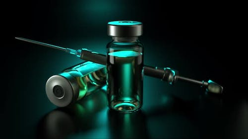 Pharmacological Medicine Bottles and Equipment Syringe with Needle From Viral Disease
