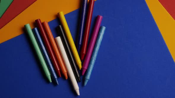 Thumbnail for Rotating shot of color wax crayons for drawing and crafts
