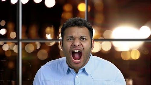Furious African-american Man Close Up.