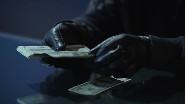Thumbnail for Criminal in Black Gloves Counting Bundle of Money Earned for Committing Crime