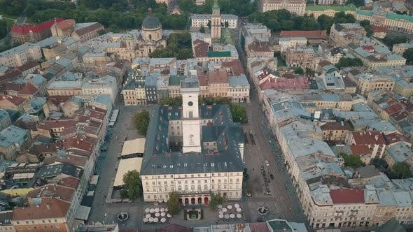 Thumbnail for Aerial Drone Video of European City Lviv, Ukraine, Rynok Square, Central Town Hall, Dominican Church