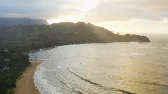 Thumbnail for Sunset Hanalei Beach Aerial View Kauai Hawaii Glorious Sun Light Above Beach Mountains Tropical