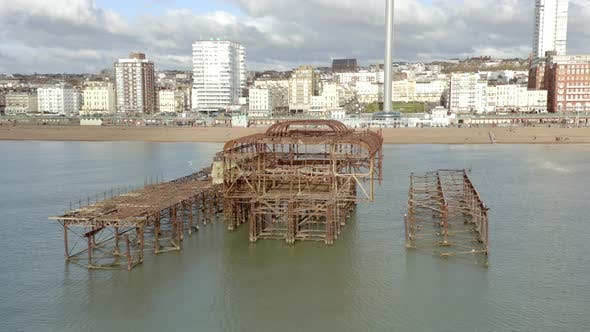 Charred Remains of Brighton West Pier in the Summer Aerial View