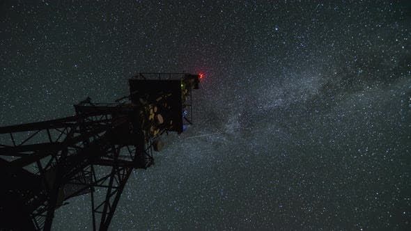 Thumbnail for Communication Tower in Starry Night Sky with Milky Way