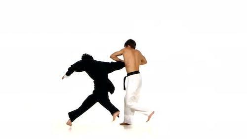 Martial Arts. Karate or Taekwondo Show Skills on the Battlefield