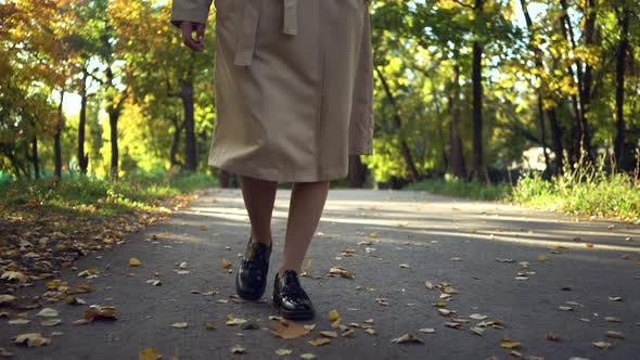 Thumbnail for Legs of Woman in Fashionable Black Boots and Coat or Trench Walking in Autumn Park