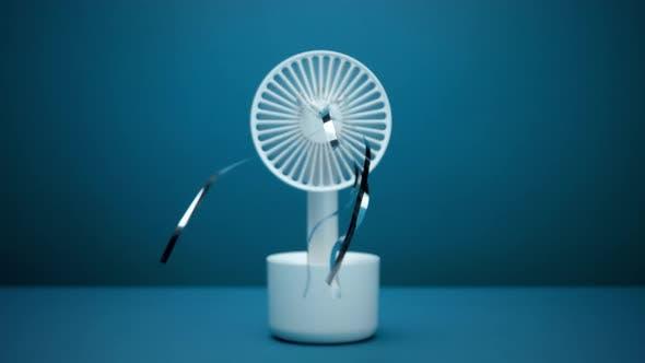 Thumbnail for Frontal View Ventilator Blows Silver Rain Strips