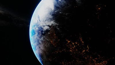 Earth Slowly Spinning in the Space