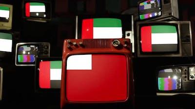 Flag Of Abu Dhabi and United Arab Emirates Flags on Retro TVs.