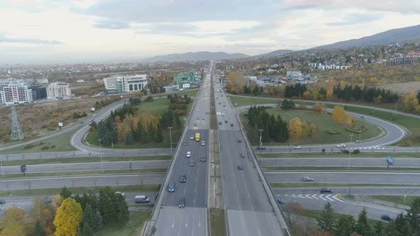 Thumbnail for Aerial View of City Traffic in Sofia, Bulgaria. Boyana Ring Road, Bypass Road Highway with Busy