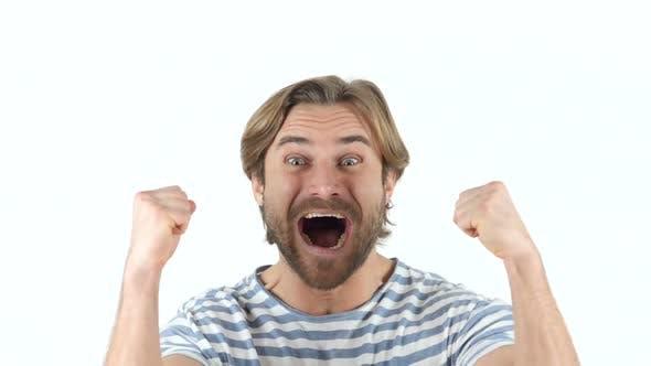 Thumbnail for Happy Man Celebrating Achievement, Successful