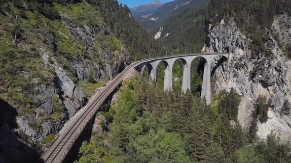 Aerial View of Landwasser Viaduct Switzerland