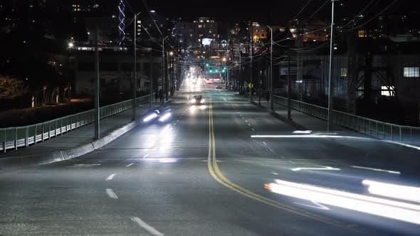 Thumbnail for Busy City Street Car Light Streak Trails With Far Vanishing Point Of Focus