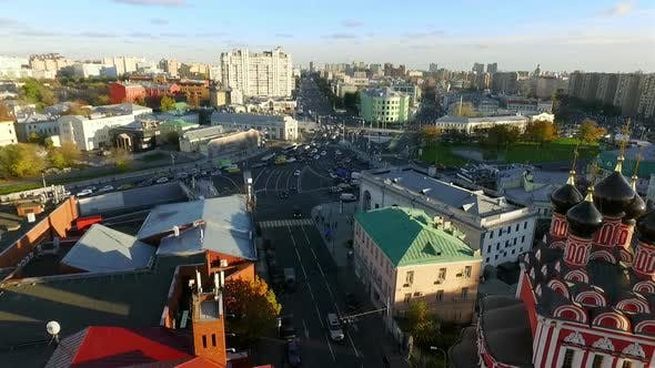 Thumbnail for An Aerial View of a Busy Urban Area on a Sunny Evening