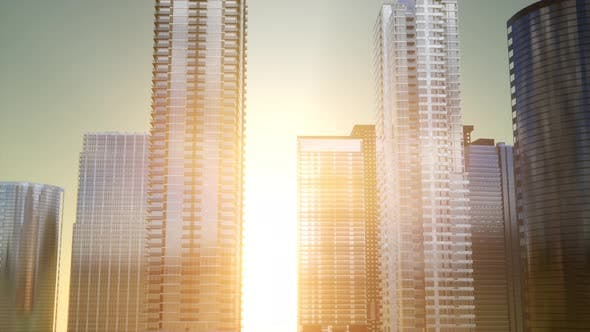 Thumbnail for Business Skyscrapers at Sunset