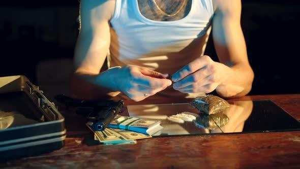 Thumbnail for Drug Addict Preparing Cocaine Lines
