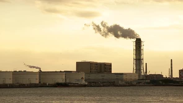 Thumbnail for Industrial factory during sunset in Kawasaki of Japan