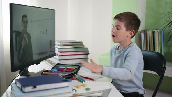 Thumbnail for Child Learns Lessons Online with Teacher Using Modern Technology, Distance Education