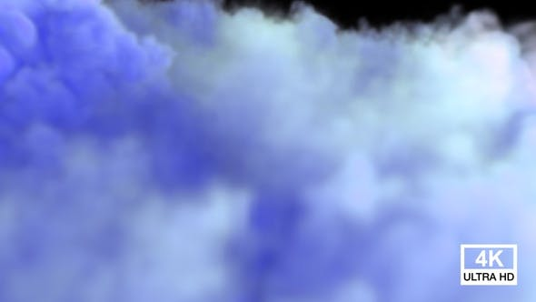 Blue Color Smoke Streaming And Spreading On The Floor V4