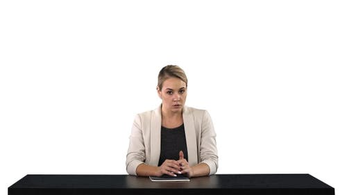 A Female Newsreader Presenting the News Add Your Own Text