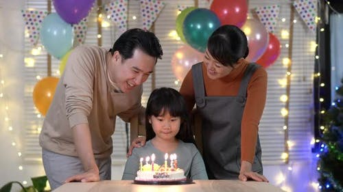 Father, Mother and Daughter happy birthday