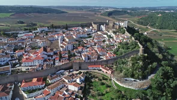 Thumbnail for Aerial Around View of Medieval Town Obidos
