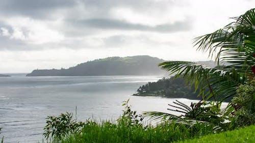 Kauai Waterfront Mist Rain Sun Rays Timelapse Palm Trees Island View
