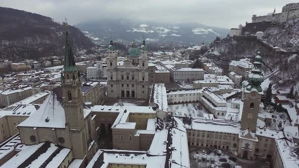 Thumbnail for Aerial view of churches and towers in Salzburg