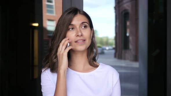 Thumbnail for Beautiful Girl Attending Phone Call, Talking with Friend