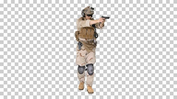 Thumbnail for Soldier walking and aiming with a pistol, Alpha Channel
