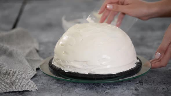 Thumbnail for Close Up of Woman Preparing Cake with Vanilla Cream at Home. Making Pancho Cake with Sour Cream