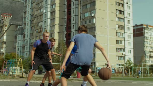 Thumbnail for Streetball Guard Stealing a Ball During Outdoor Game