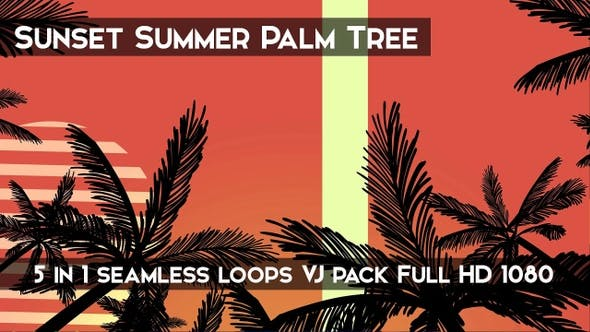 Thumbnail for Sunset Summer Palm Tree VJ Loops