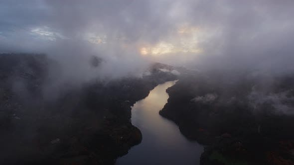 Thumbnail for Sunset in Fog on River Water