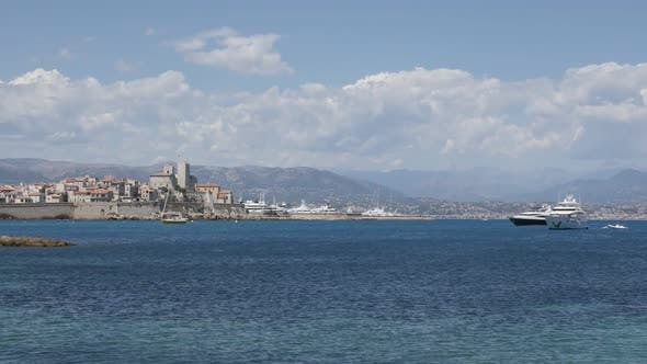 ANTIBES, FRANCE - JULY 2017   Slow motion video of famous  fortified city  on French riviera