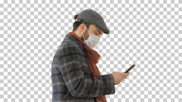 Thumbnail for Stylish man in medical mask walking and, Alpha Channel