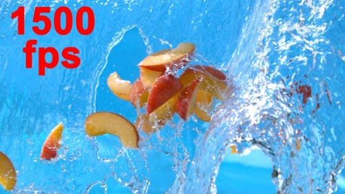 Peach Fruit Falling Into Water Splash