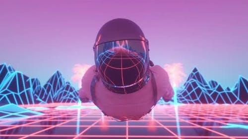 Astronaut umgeben von blinkenden Neonlichtern