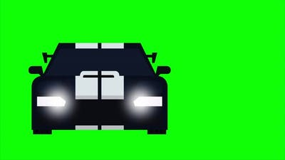 Animation of running sports car with green screen background.