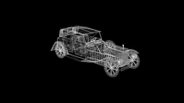 Wireframe Old classic car