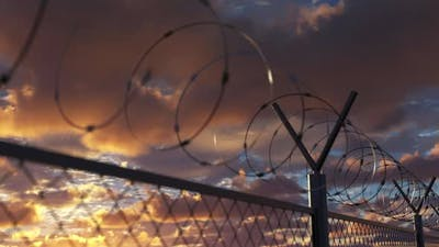 Wire Barbed Fence Near Jail Restricted Area and Prison Boundary Barrier Loopable