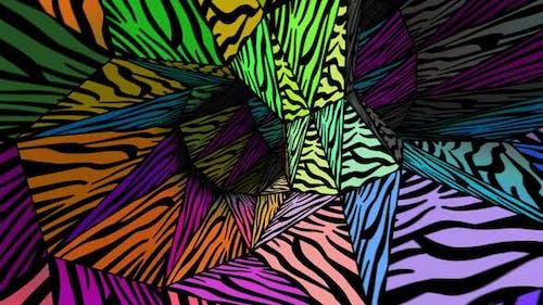Lowpoly zebra pattern tunnel