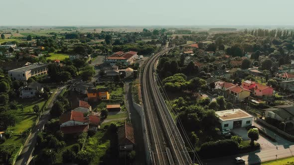 Drone Aerial Over Commuter Rail Network in City