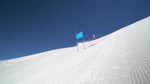 Professional Ski Racer Skiing Super G