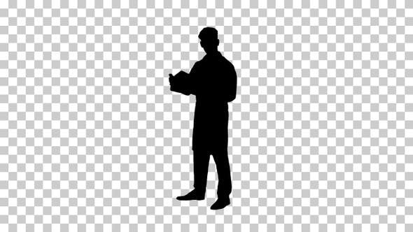 Thumbnail for Silhouette Male doctor studying some documents, Alpha Channel