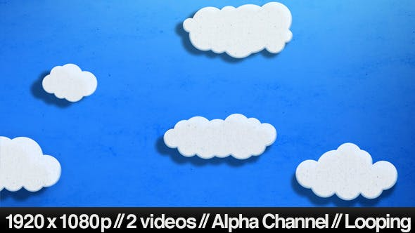Thumbnail for Cartoon Clouds Floating Across Screen in 2D Scene